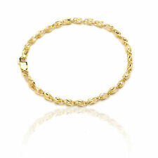 10k Yellow Gold Turkish Rope Chain Bracelet and Anklet for Women and Men, 3.5mm
