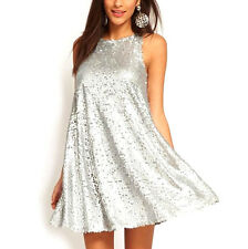 Summer Womens Loose Sleeveless Silver Sequins Big Swing Vest Mini Party Dress