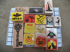 NEW Halloween Rubber wood stamp Witch Ghost Bat Skeleton Skull Cat Zombie Poe
