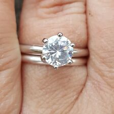 .925 Sterling Silver wedding set CZ Round cut Engagement Ring size 4-11 New