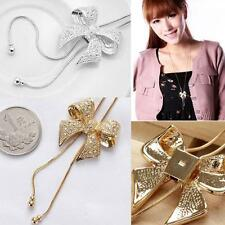 Long Rhinestone Pendant Necklace Crystal Bowknot Sweater Chain