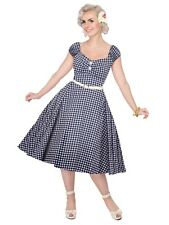 Collectif Dolores Navy and White Gingham 50s Style Summer Doll Dress
