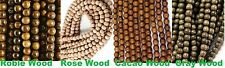 Natural Wood Round Beads 8mm & 10mm - Cacao/ Gray/ Roble/ Rosewood 16'' Strand