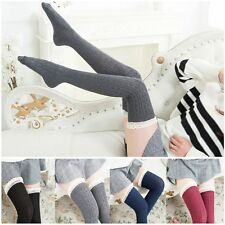 Long Cotton Tigh High Over Knee Knit Lace Socks Women Stockings