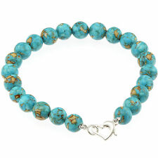 "925 Sterling Silver Heart Clasp Bracelet / Natural 8mm Turquoise Bead 7.5"" Long"