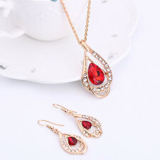 Women Gold Jewelry Set Crystal Ruby Sapphire Hook Earring Chain Pendant Necklace