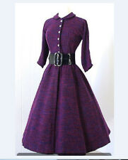 Women' 1950S Vintage Autumn Dress Purple Long Sleeve Midi Party Dress With Belt