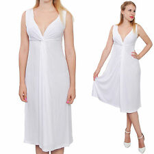 WHITE WOMENS SLEEVELESS VNECK DRAPED MIDI EVENING PARTY COCKTAIL SUMMER DRESS