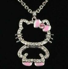 Hello Kitty Sparkling Crystals Pendant Necklace w/ Pink Bow - New -Free Shipping