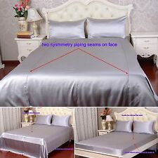 22 Momme 100% Pure Silk Duvet Quilt Cover Sheets Pillow Cases Seamed Silver