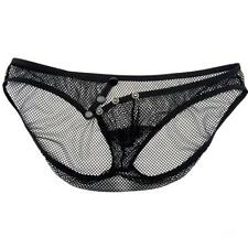 Sexy Men's Black Low Waist Openwork See Through Mesh Briefs Sheer Underwear