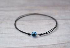 Blue Evil Eye Bracelet. Black String Bracelet. Good Luck Amulet, Talisman. Knots