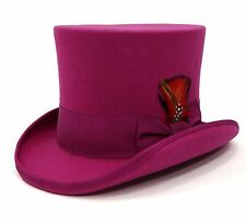 Ferrecci Mens Fuchsia 100% Wool Victorian Madhatter Steampunk Reinforced Top Hat
