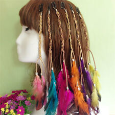 Multi-color Clip In On Hair Extension With Feather Synthetic 9.84 Inches