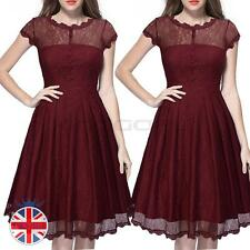 Womens 1950s Vintage Style Retro Evening Party Swing Classic Lace V Neck Dress