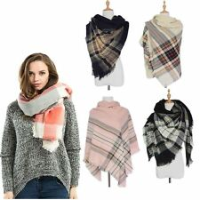 Checked Cozy Women Wrap Shawl Plaid Blanket Oversized Tartan Scarf Pashmina