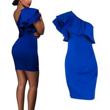 One Shoulder Mini Dress Women Ruffled Bodycon Party Cocktail Club Dress SML L88