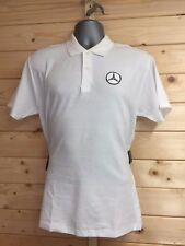White Polo Shirt with Mercedes Embroidered Logo