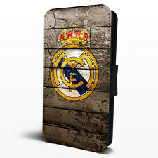 Real Madrid FC Logo Faux Leather Flip Phone Case Cover iPhone Samsung