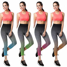 Womens High Waist Pants Stretch Running Leggings Gym Yoga Sport Cropped Trousers