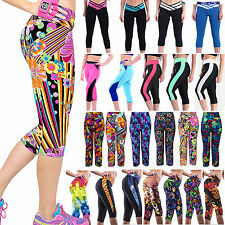 Womens Stretch Yoga Pants Sports Gym Joggers Workout Trousers Cropped Leggings