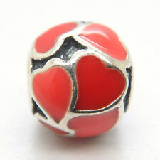 Authentic Genuine S925 Sterling Silver Red Hot Hearts enamel Charm Bead