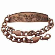 Solid Copper Bracelet Eagle Handmade Jewelry Chain Link Arthritis Pain Relief