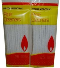Ronson Quality Pipe Cleaners EXTRA LONG Natural Cotton Bleach White 25 per Pack