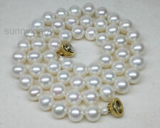 """AAA Natural White 7-7.5mm Akoya Pearl Necklace 17"""" 14k Silver Magnet Clasp Gift"""
