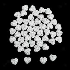 50pcs 12mm Resin Beads Heart Flatback Embellishments Craft Decor Scrapbooking
