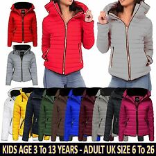 Ladies Kids Bubble Fur Collar Quilted Padded Girls Thick Warm Coat Puffer Jacket