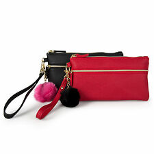 Mundi Womens Pom Pom Wristlet Faux Leather Clutch Wallet