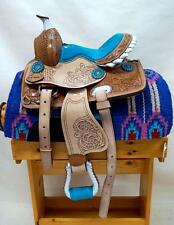 """8"""" 10"""" 12"""" Med Oil +BLUE +BLIING conchos Western PONY MINI TRAIL Saddle SHOW NEW"""