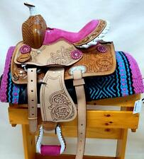 """8"""" 10"""" 12"""" Med Oil +PINK +BLIING conchos Western PONY MINI TRAIL Saddle SHOW NEW"""