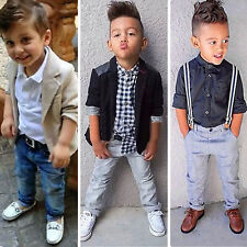 Kids Baby Boys Gentleman Coat/Shirt Tops+Jeans Pants Trousers Clothes Outfit Set