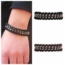 Men Silver Stainless Steel Chain Black Braided Leather Bracelet Cuff Bangle New