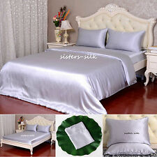 22 Momme 100% Pure Silk Duvet Cover Sheets Pillow Cases Seamless Silver All Size