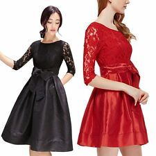 Fashion Womens Long Sleeve Lace Floral Mini Dress Party Cocktail Evening Dresses