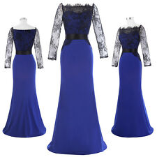 Sexy Lady Lace Sleeve Off-Shoulder Evening Formal Party Long Dress Ball Gown NEW