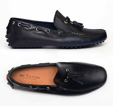 KITON NAPOLI Navy Blue Leather Tassel Loafers Driving Car Shoes Moccasins NEW