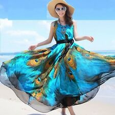 Women Peacock Summer Dress Plus Size Vintage Autumn Long Maxi Dresses