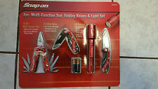 Snap-On Licensed 4pc Multi-Fuction Tool, 2-Folding Knives/Light Set, New in Pack