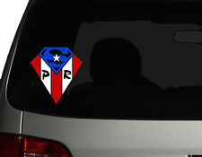 "Puerto Rico Vinyl Car Decal Sticker 6""(H) Puerto Rican Flag superman design No.2"