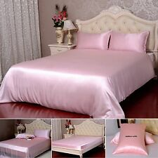 19 Momme 100% Pure Silk Duvet Cover Sheets Pillow Cases Seamless Pink All Size