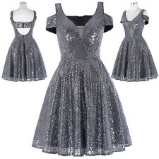 Short Sequin Party Formal Evening Dress Gown Bridesmaid Wedding Cocktail Summer
