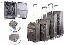 Set of 4 Grey Lightweight Suitcases Wheeled 4 Wheel Spinner Hand Cabin Luggage