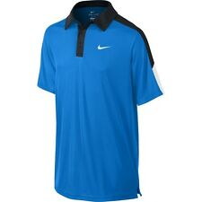 New Nike Boys Dri-Fit Tennis Polo Shirt Blue/White/Black 642071-409
