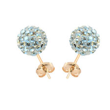 14K Yellow Gold Swarovski Elements Crystal Moonlight Disco Ball Stud Earring
