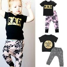 Baby Boy Girls Casual Cotton T-shirt Top+Pants Outfits Summer Clothes Set 0-24M