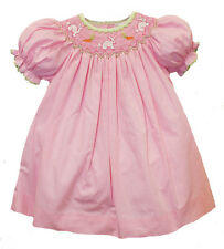 Girls Easter Dress Smocked Bunnies Pink Gingham Infant Toddler Petit Ami NWT